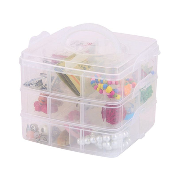 3 Layers Detachable DIY Desktop Storage Box Transparent Plastic Storage Box Jewelry Organizer Holder Cabinets for Small Objects Multicolor - gadgetbucketindia