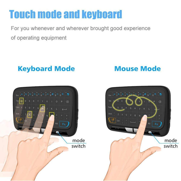 H18 Touchpad Mini Keyboard & Mouse 2.4GHz Rechargeable Full Screen with Hand held Remote for Android TV Box - gadgetbucketindia