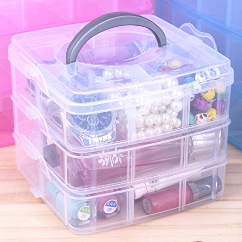 3 Layers Detachable DIY Desktop Storage Box Transparent Plastic Storage Box Jewelry Organizer Holder Cabinets for Small Objects Multicolor