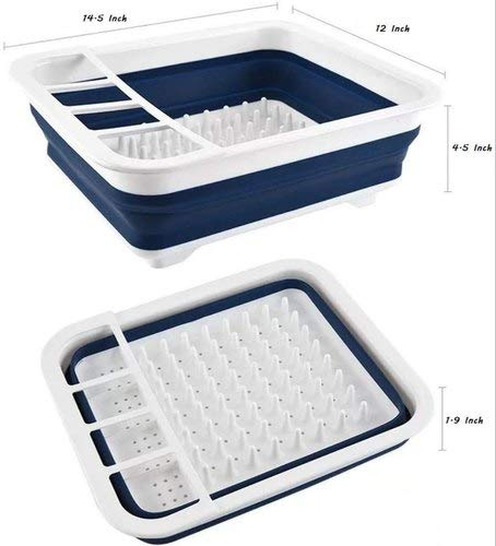 Silicone Collapsible Foldable Dish Drying Drainer Storage Kitchen Rack for Portable Travel Dinnerware Organizer ABS Plastic & Silicone(PP+TPE) & Dishwasher Safe