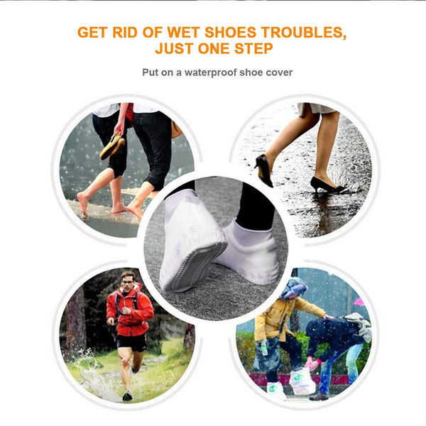 Waterproof & Rainproof Non Sleep Reusable Water Sand Rain Protective Silicone Shoe Cover-fit shoe size upto 4-Multi Color Will Ship - gadgetbucketindia
