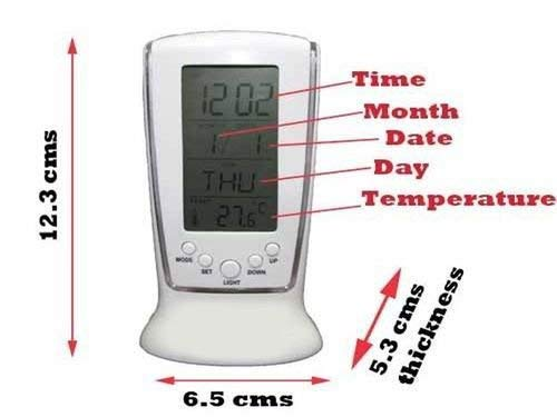 Square Clock 510 Digital Alarm Temperature Calender Led Light Table Clock