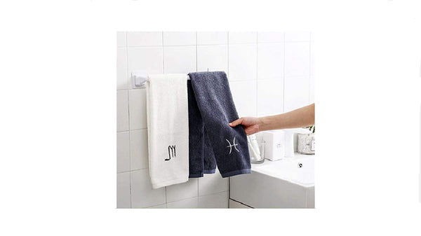 Self Adhesive Wall Mounted Bathroom Towel Bar Shelf Rack Holder Toilet Roll Paper Hanging Hanger Random Colour