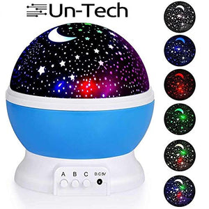 Un-Tech Starry Sky Night Light Projector Rotating 4 Mode Sky Star Master Mini Projector Lamp for Kid's Room Decor (Assorted Colour)