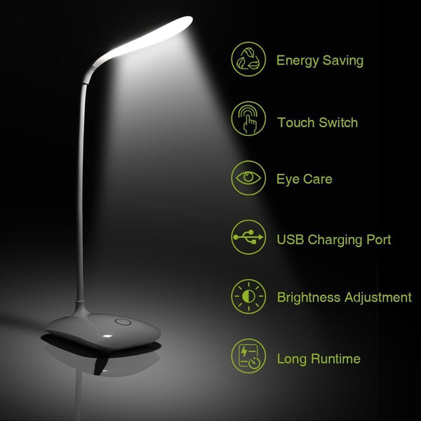 UnTech Rechargeable LED Touch On/Off Switch Desk Lamp Children Eye Protection Student Study Reading Dimmer Rechargeable Led Table Lamps USB Charging Touch Dimmer(White)