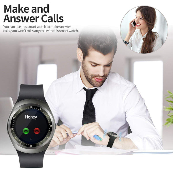 Y1S Touch Screen Bluetooth Smartwatch with Camera and Sim Card Support Compatible with All Smartphones