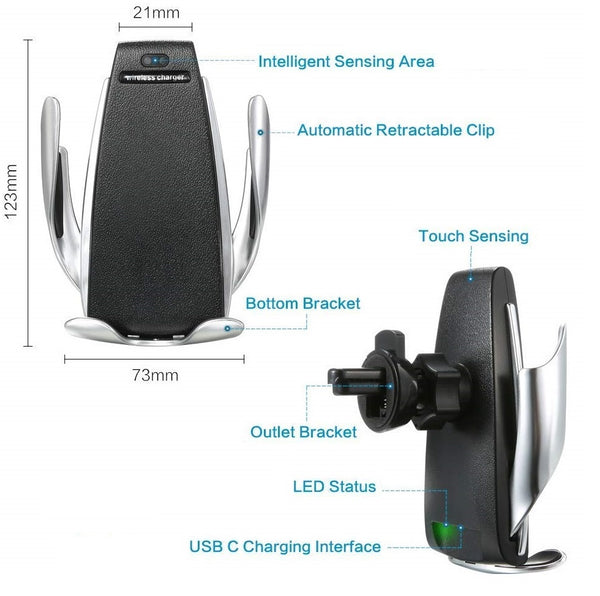 Wireless Car Mobile Mount Holder Charger Automatic Clamping Fast Charging - gadgetbucketindia