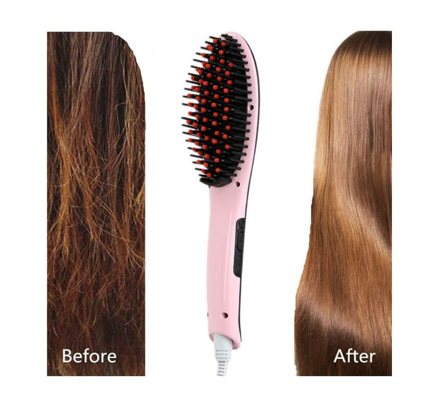 Electric Comb Brush Fast Hair Straightener Brush Simply Hair Straight brush Multicolour with Temperature display - gadgetbucketindia