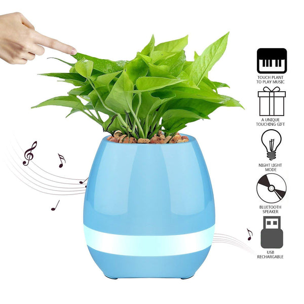 UnTech Musical Flower Pot with Bluetooth Music Speakers,With LED Lights and Touch Control Piano play music when you touch the leaves (Color May Vary)
