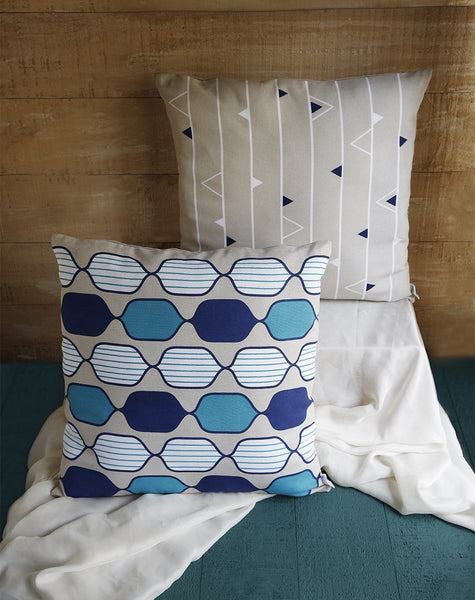 Cotton Cushion Covers Hand Woven Printed Pillow Covers Home Sofa Decorative-Set of 2