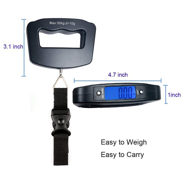 Gadgetbucket Portable Handheld Digital Heavy Duty Hook Type With Strap Luggage Weighing Scale (50 Kg, Black)