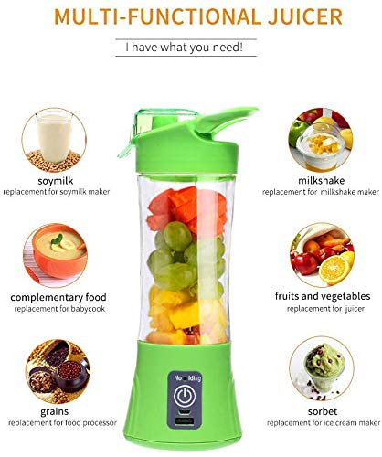Gadgetbucket Portable USB Electric Juicer with Sipper Blender 380 ML Juicer Cup with 6 Blades,Power Bank Charge Inbuilt