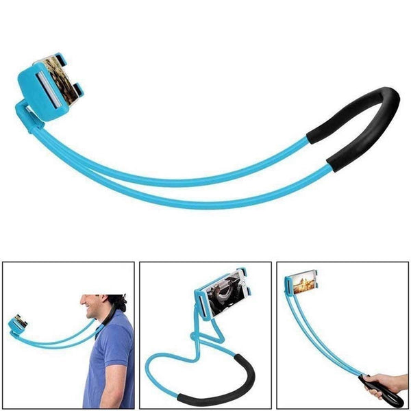 Lazy Bracket Phone Holder,Universal Hanging on Neck Lazy Phone Holder Free Rotating Smart Multiple Functions Mobile Phone Mount Stand (Blue) - gadgetbucketindia
