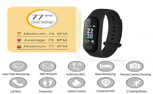 M3 Fit Band Activity Tracker Heart Rate Monitor Blood Pressure Monitor - gadgetbucketindia