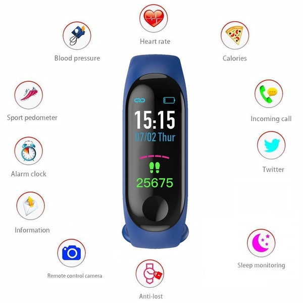 UnTech M3 Band with Activity Tracker, Heart Rate Monitor OLED Display for Android and iOS (Navy Blue)