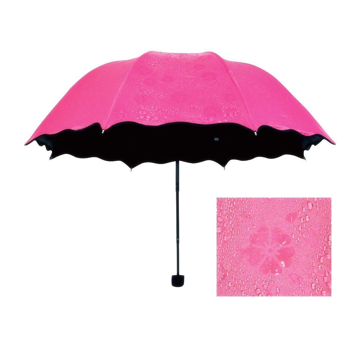 Triple Folding Mini Blossom Magic Umbrella with Magic Floral Design Appears on Umbrella During Rain for Girls and Women (Multi Color Pack of 1) - gadgetbucketindia