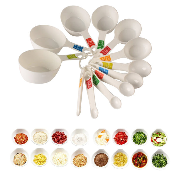 Ergode Plastic Measuring Cups and Spoon Set with Ring Holder, 12 Piece Set (White)