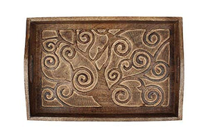 """Tree of Life"" Hand Carved Wooden Breakfast Serving Tray with Handle for Tea Snack Dessert Kitchen Dining Serve-ware Accessories"