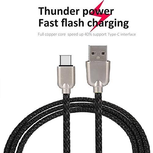 UnTech Mesh Plastic Rubber Covered Fast Charging USB Cable Black for C-Type - gadgetbucketindia