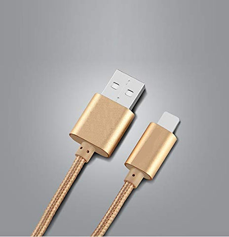 UnTech Canvas Fabric Fast Charging Micro USB Data Cable Golden for Android - gadgetbucketindia