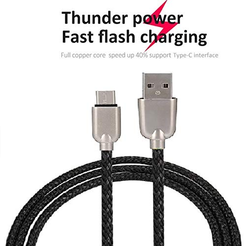 UnTech Mesh Plastic Rubber Covered Fast Charging Micro USB Cable Black for Android - gadgetbucketindia