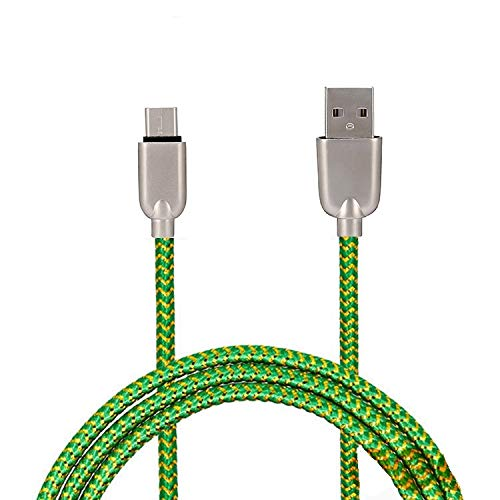 UnTech Mesh Plastic Rubber Covered Fast Charging Micro USB Cable Green for Android