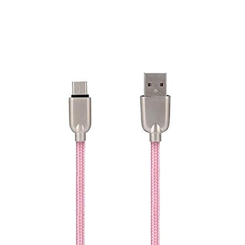 UnTech Mesh Plastic Rubber Covered Fast Charging USB Micro Usb Cable Pink for Android - gadgetbucketindia