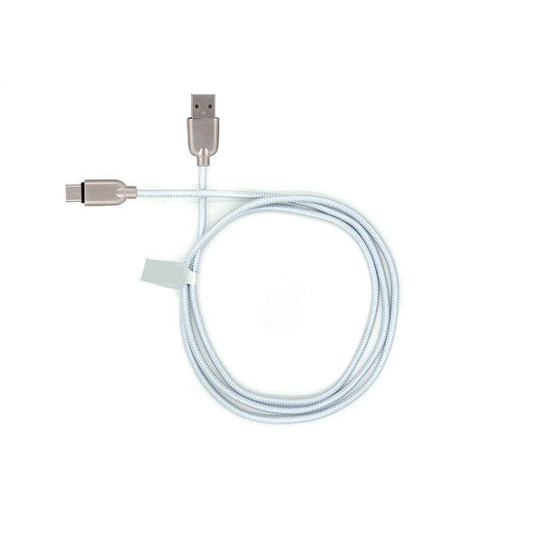 UnTech Mesh Plastic Rubber Covered Fast Charging USB Micro USB Cable White for Android - gadgetbucketindia
