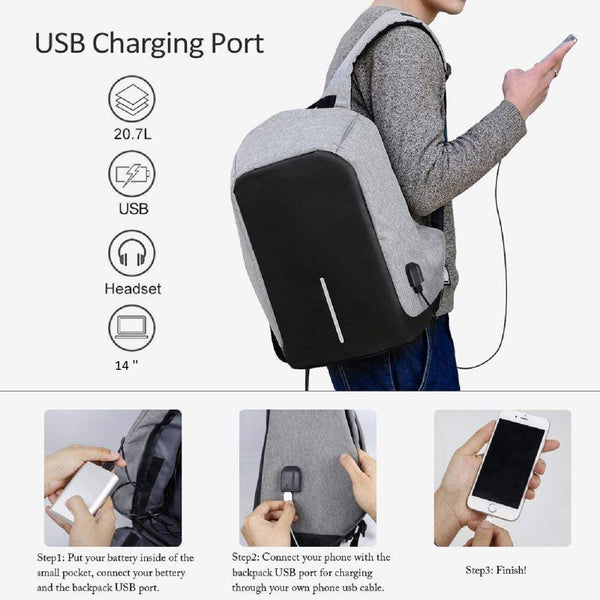 Oxford UnTech Anti-Theft Laptop Backpack with USB Charging Headphone Port Fit 14 Inch Water Resistant with a Hidden and Interlayered Zipper