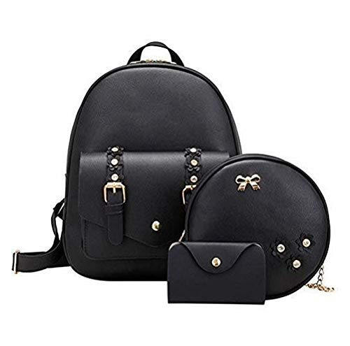 Set of 3 Pcs PU Leather Women's Bag Rivet Pendant Women Fashion Shoulder Backpacks for Teenage Girls with Purse (Black)