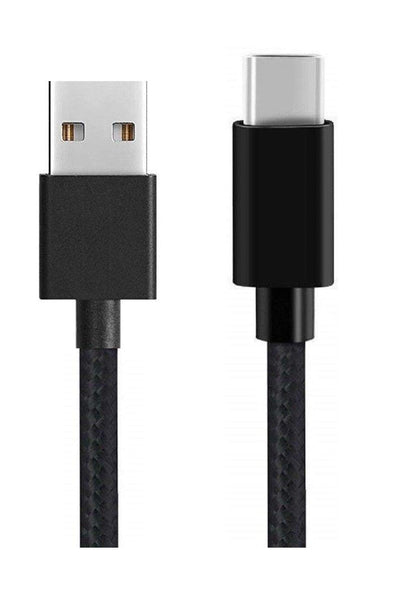 Canvas Fabric Fast Charging Data Cable Black for C-Type