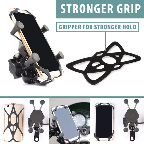 Phone Holder with Fast Charging USB Output 5V-2A for 3.5 inches to 6.5 inches Screen Size Mobile Compatible for All Bikes