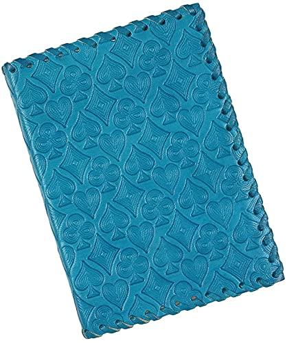 Leather Journal Diary Unlined Personal Organizers Book Playing Card Motif-Blue
