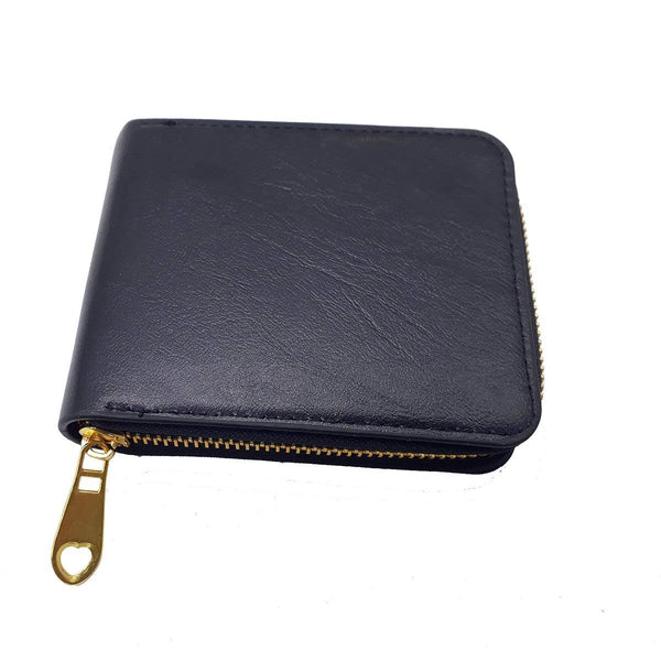 Bovi's DN8163 Mens Wallet Premium Stylish PU Leather Round Gold Zipper-Black