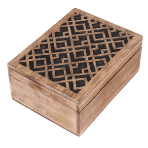 Rustic Wooden Decorative Jewellery Organizer Storage Box Gift Ideas for Women & Girls