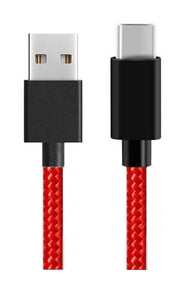 Canvas Fabric Fast Charging Data Cable Red for C-Type