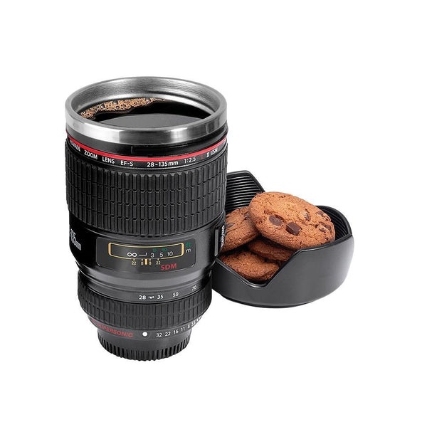 Un-Tech Camera Lens Coffee Mug Flask with Cookie Holder, Black