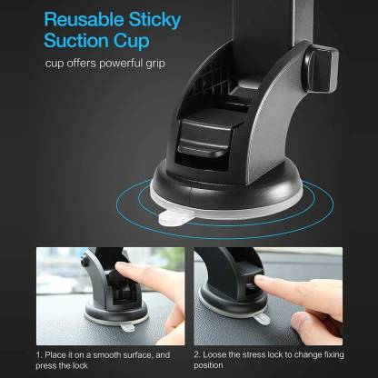 Silicone Sucker Long Neck 360° Rotation Car Mobile Holder/Mount with Ultimate Reusable Suction Cup