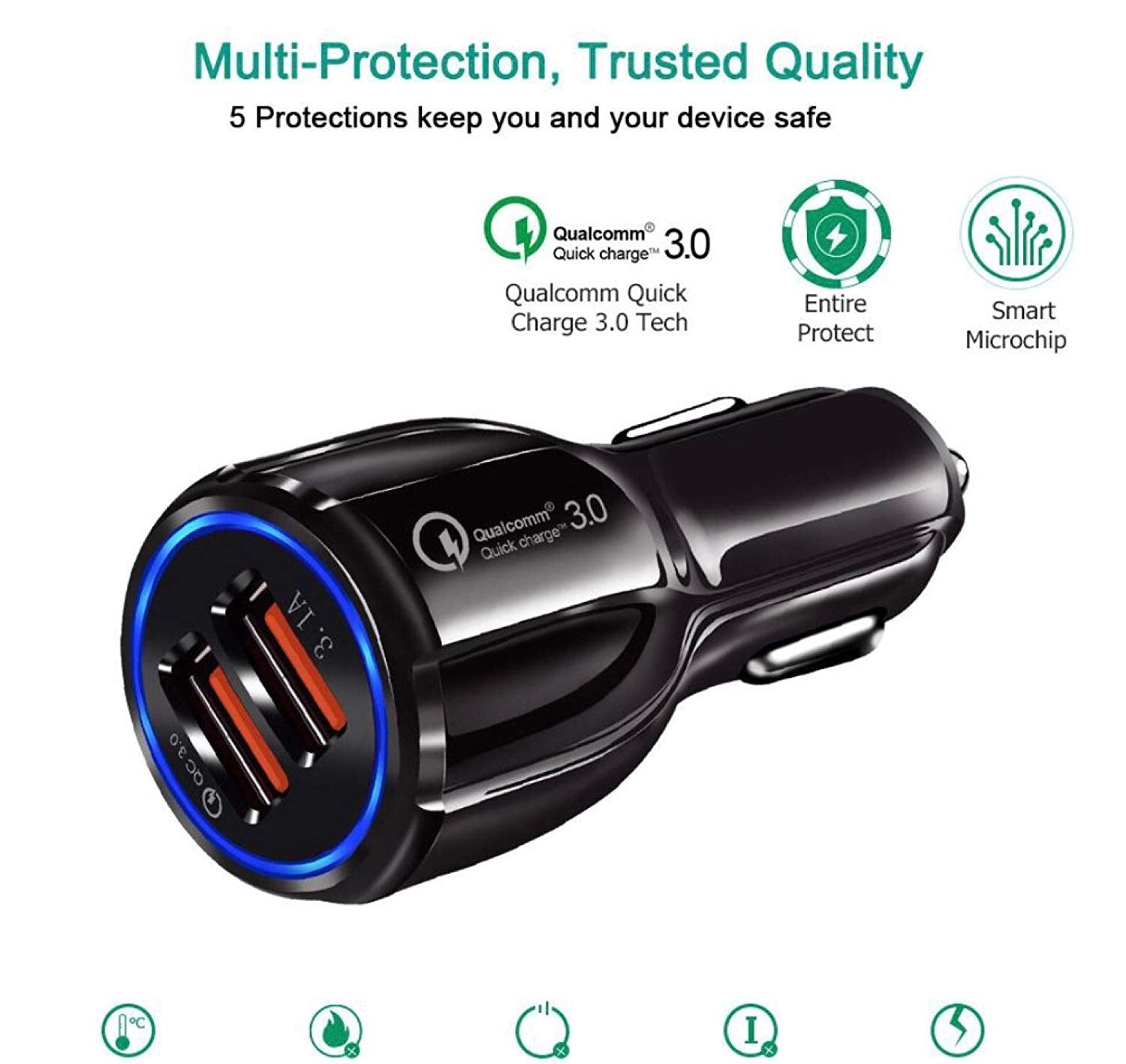 Car Charger with Quick Charge 3.0, 39W Dual Ports 6A for Samsung Galaxy Note8 / S9 / S8 / S8+, LG G6 / V30, HTC 10 and More