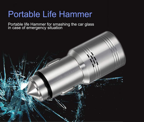 Portable Mini Bullet Shape Car Charger with Hammer Dual USB 2.4 A Max