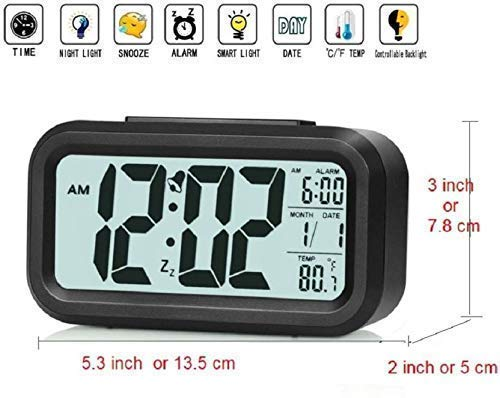 Un-Tech Optically Controlled Liquid Crystal Device Digital Alarm Clock with Automatic Sensor Back Light LED Display