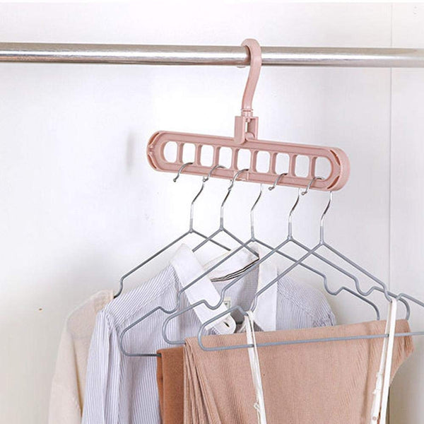 Wardrobe Space Saver Folding Hangers for Clothes Wardrobe Anti-Skid Plastic Magic Clothes Hanger 360º Swivel Hook (Pack of 2) - gadgetbucketindia