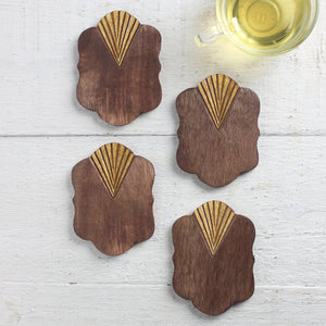 Wooden Coasters Set of 4 (Blossom Brown Gold Foil Collection)