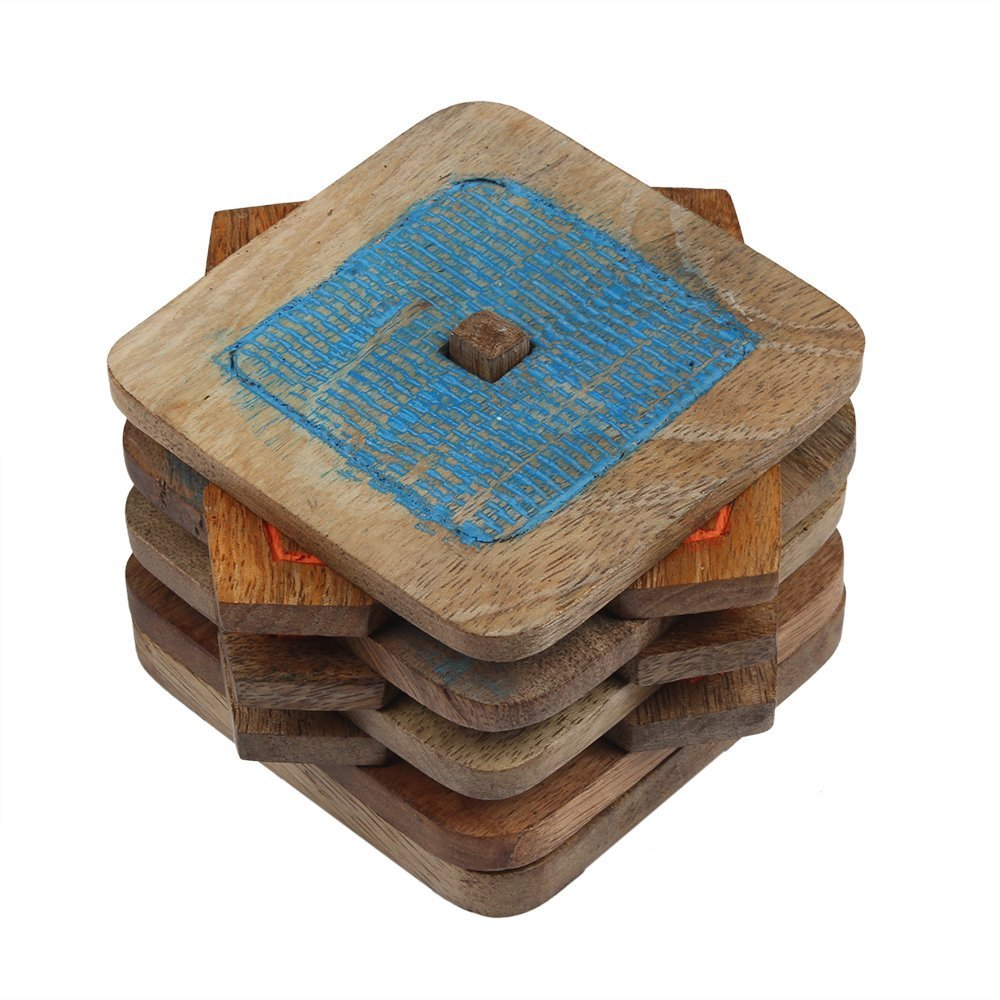 Wooden Coasters Protects Furniture from Water Stains & Damages -Set of 6