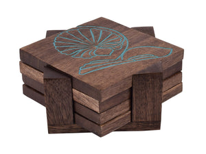 Wooden Coasters Protects Furniture from Water Stains & Damages-Set of 4