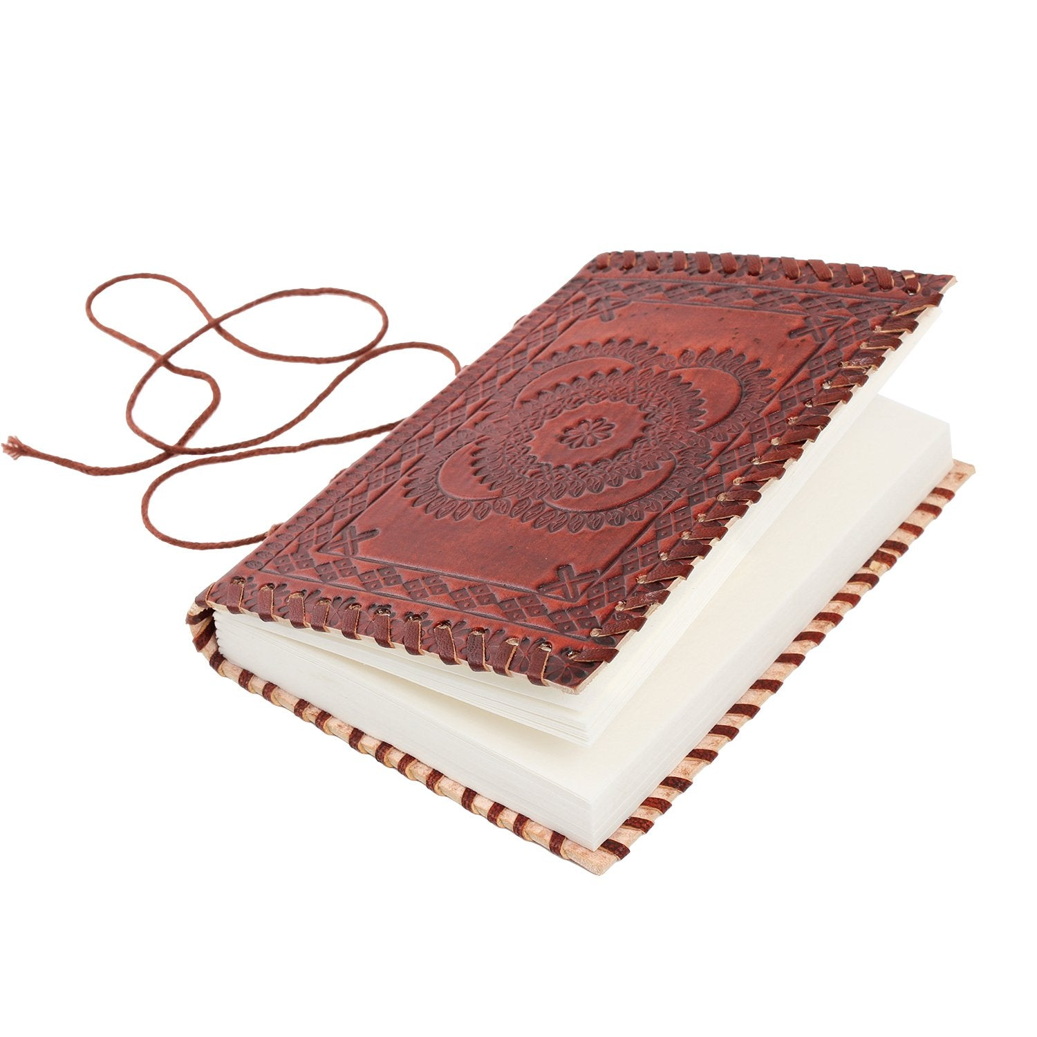 Handmade Leather Floral Embossed Diary with Eco Friendly Pages