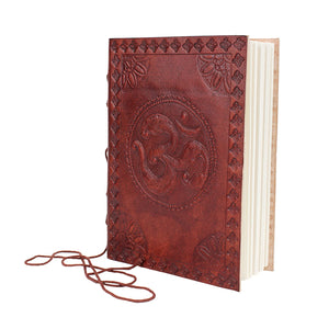 Hand Embossed Leather Journal Diary with Peace Om Symbol