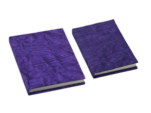 Handmade Genuine Leather Journal Eco-Friendly Unlined Pages with Faux Glitter Cover-Purple(Set of 2)