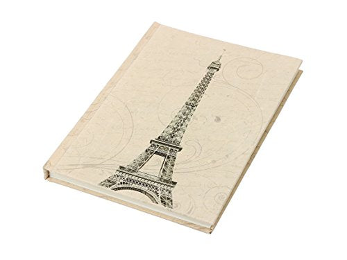 Hardcover Travel Unlined Diary Journal Record Book with Printed Eiffel Tower