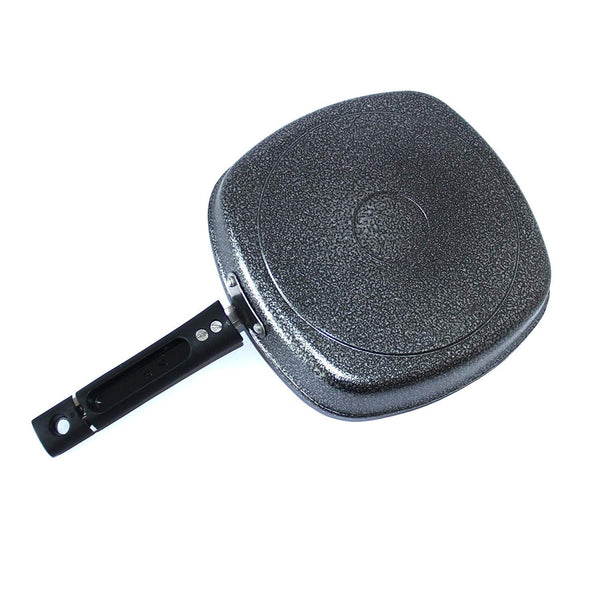 Non Stick Cookware Non Stick Grill Pan with Wooden Spatula and Scrubber (4 mm, Black, 220 x 240 mm)
